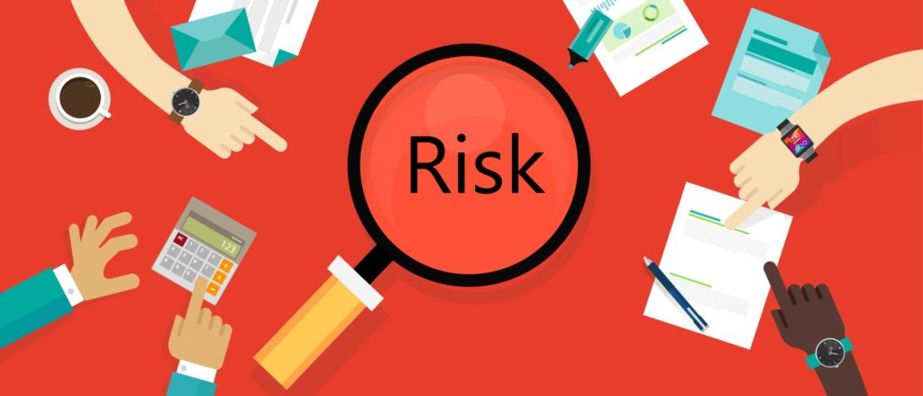 Graphic that says Risk in a magnifying glass with people investigating documents