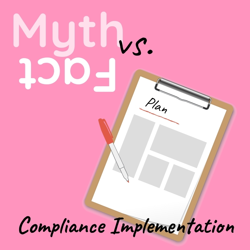 Graphic that says Compliance Implementation with an image of a clipboard and pen