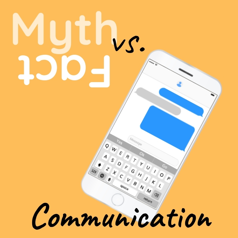 Graphic that says Communication with an image of a cellphone conversation