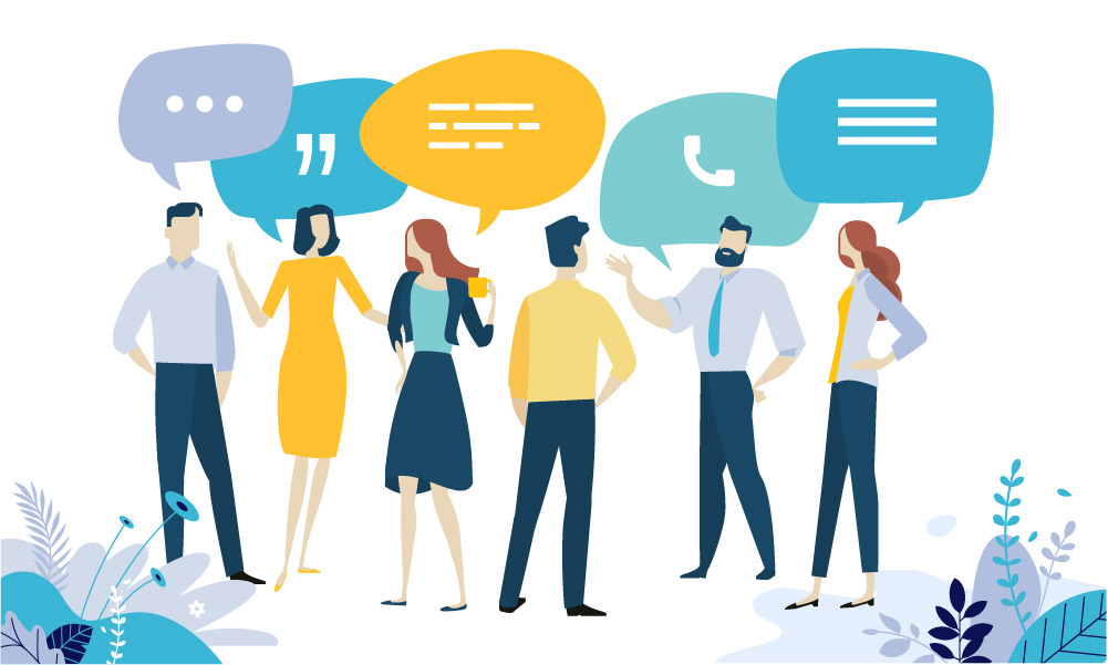 Communication graphic showing people with talk bubbles