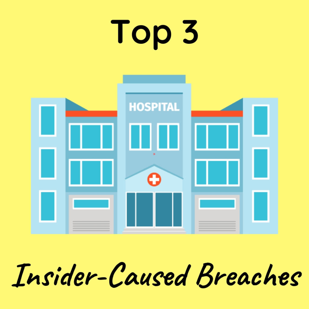 Graphic that says Top 3 Insider-Caused Breaches with an image of a hospital building