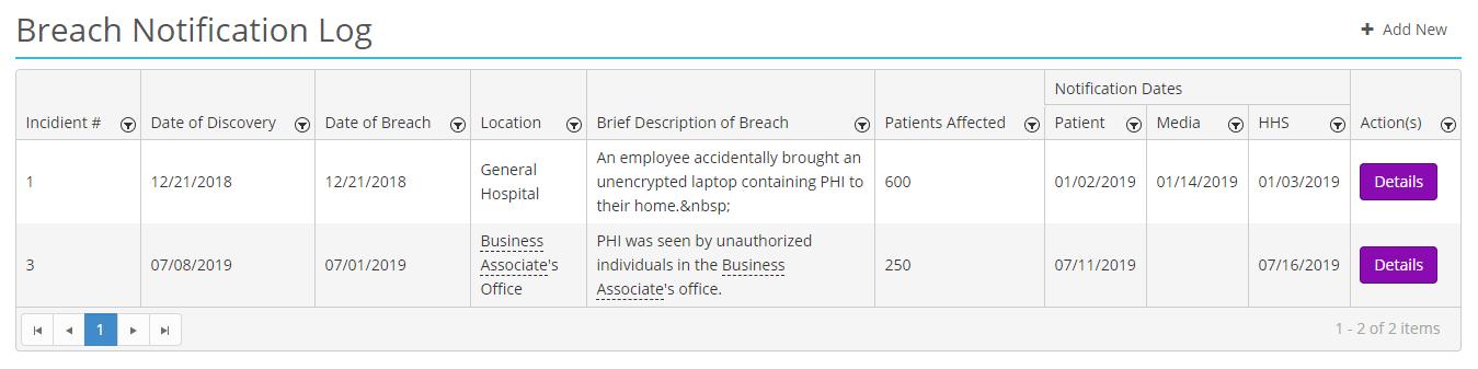 Screenshot of HIPAAtrek's breach notification log landing page
