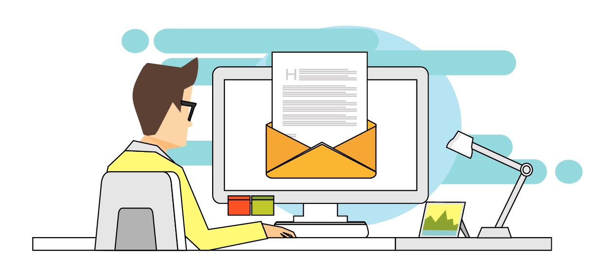 Graphic of employee at desk opening an email