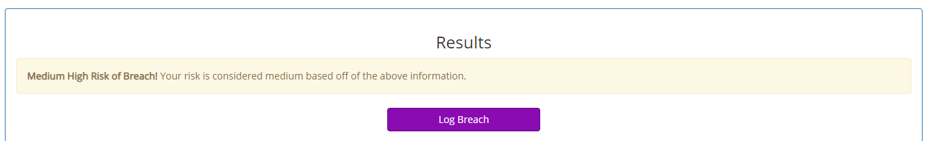 Screenshot of a breach risk assessment result