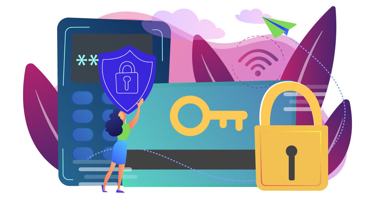 Graphic of keycard, passcode, lock, and other safeguards