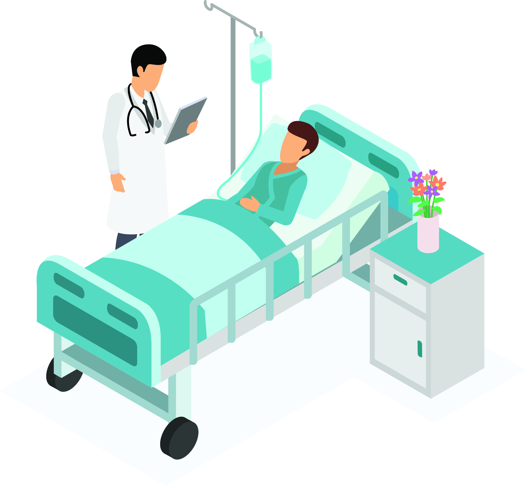 Grahic of doctor standing by a patient's bedside