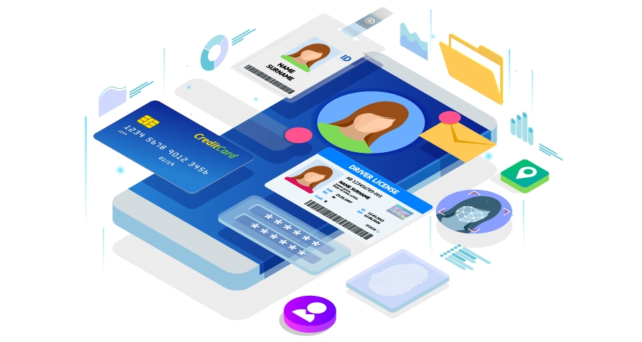 Graphic of a cellphone with credit card, driver's license, and other personal data
