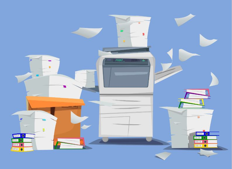 Graphic of a copy machine and stacks of paper