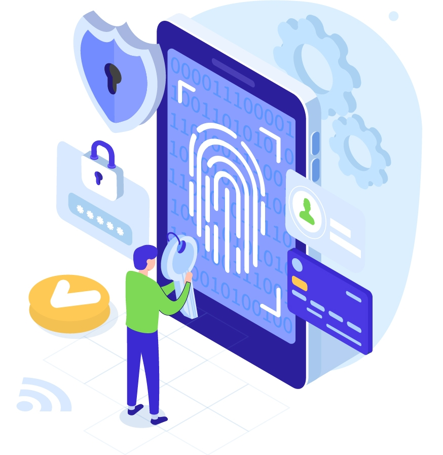 Graphic of fingerprint scanner, IDs, and other authentication safeguards