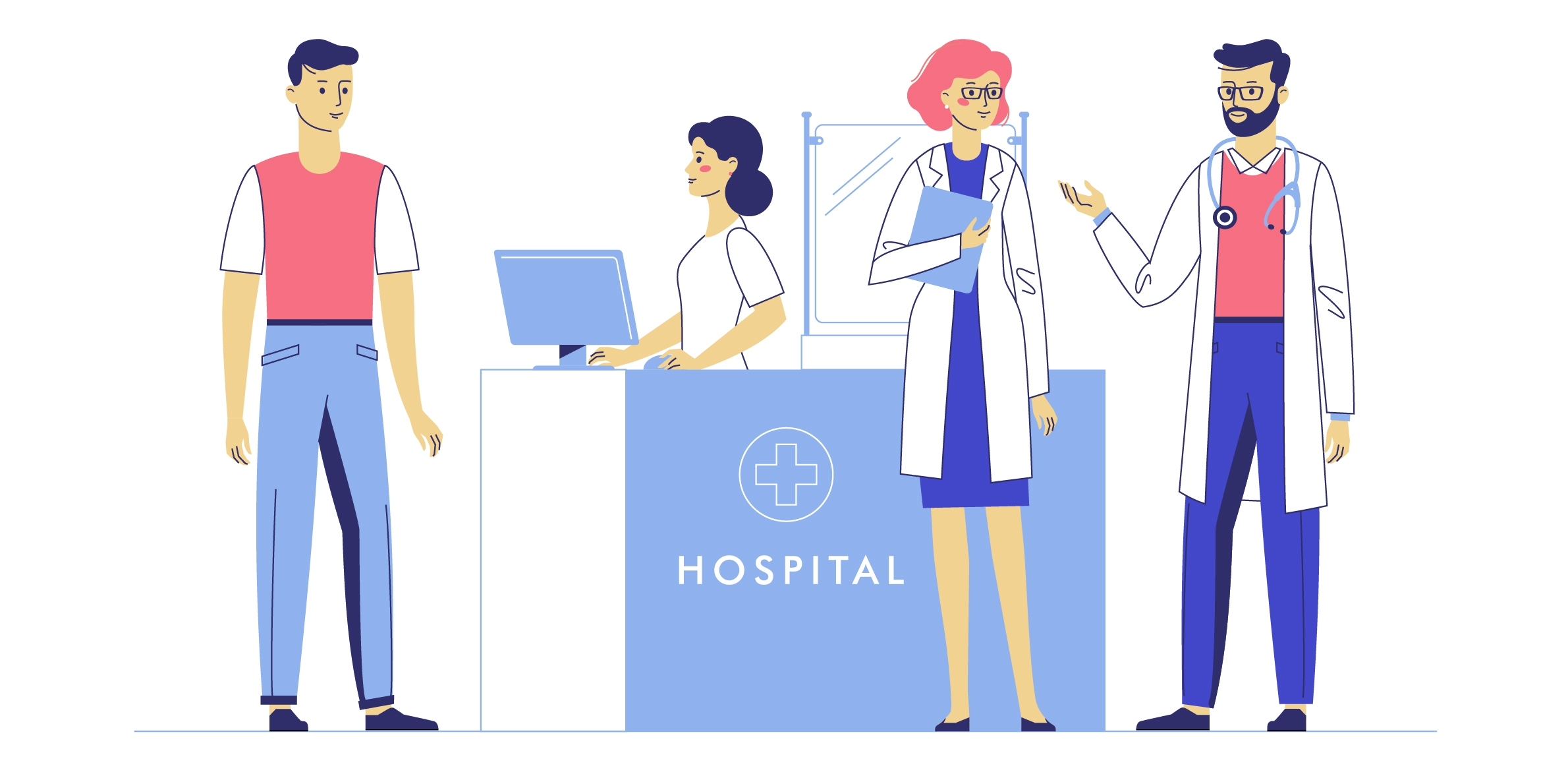 Graphic of hospital reception desk
