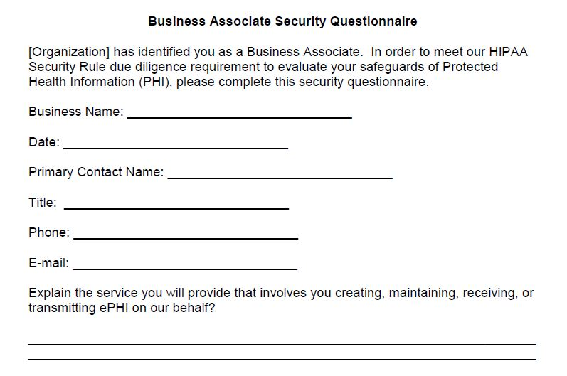Clickable image of a sample business associate security questionnaire.
