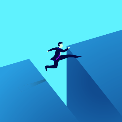 Graphic of a businessman jumping over a gap