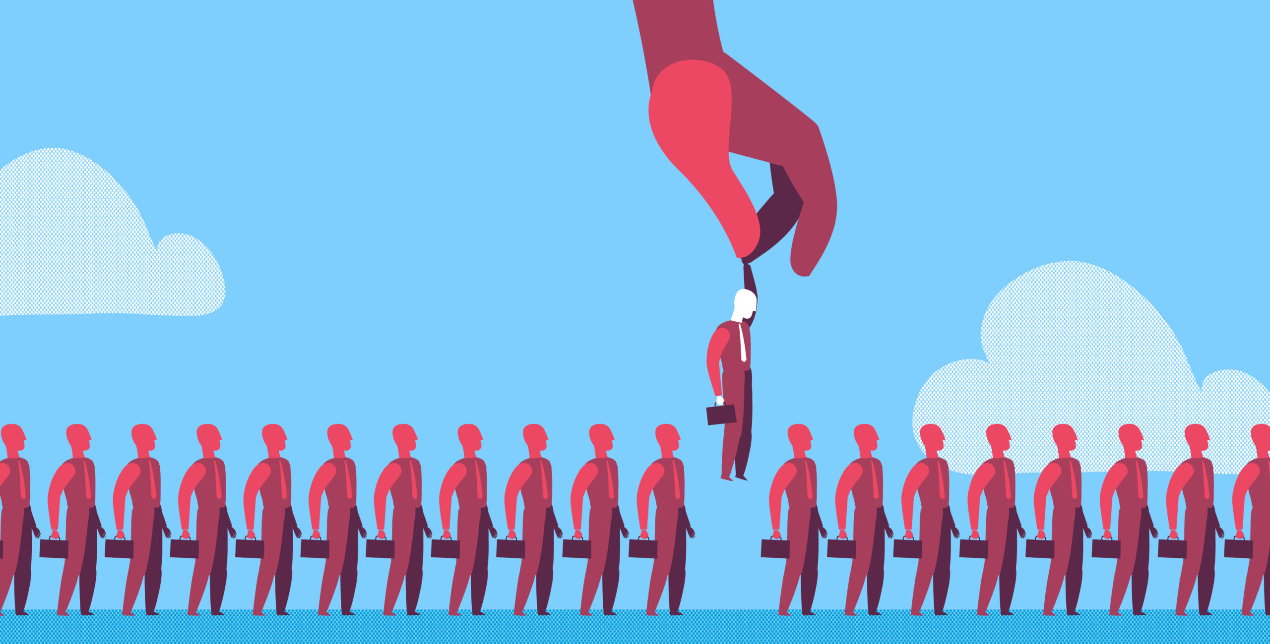 Graphic of a line of business people with a giant hand lifting one out of the line.