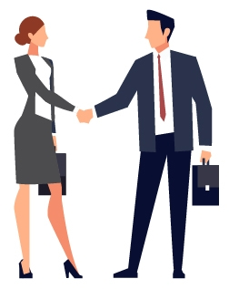 Graphic of businesspeople shaking hands