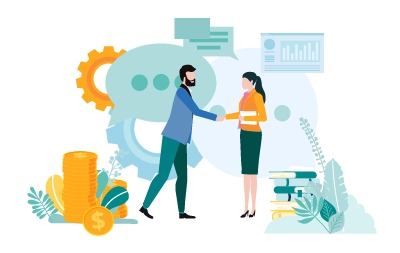 Graphic of two business people shaking hands.