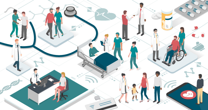 Graphic of doctors and patients surrounded by health information