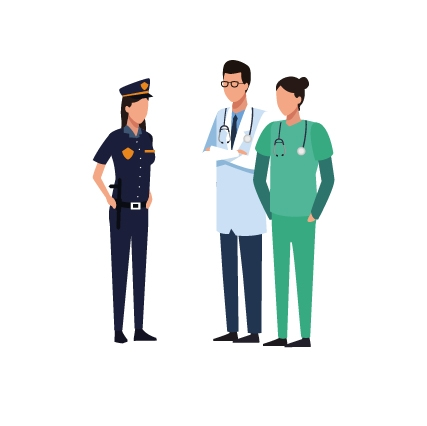 A doctor and nurse speaking to law enforcement
