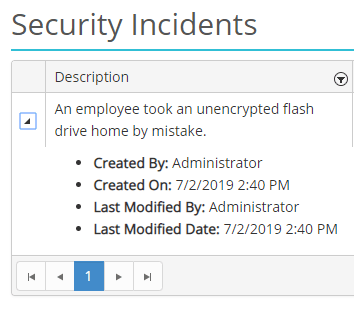 Screenshot of a security incident in HIPAAtrek's Security Incident module, expanded to show details.
