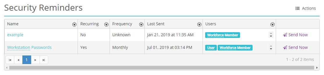 Screenshot of HIPAAtrek's Security Reminders module landing page