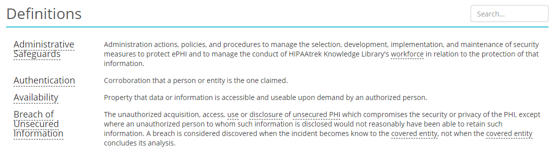 Screenshot of HIPAAtrek's Definitions module where several definitions are listed.