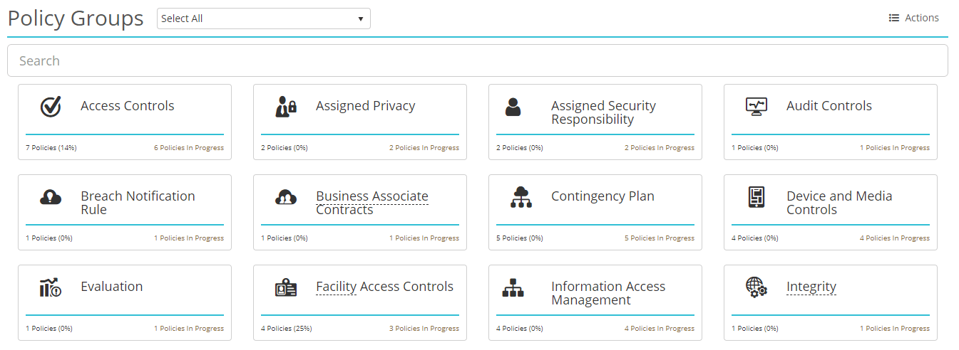 Screenshot of HIPAAtrek's Policies module landing page, where policies are organized into groups.
