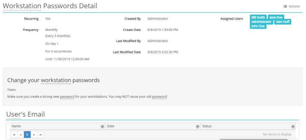 Screenshot of a security reminder in HIPAAtrek