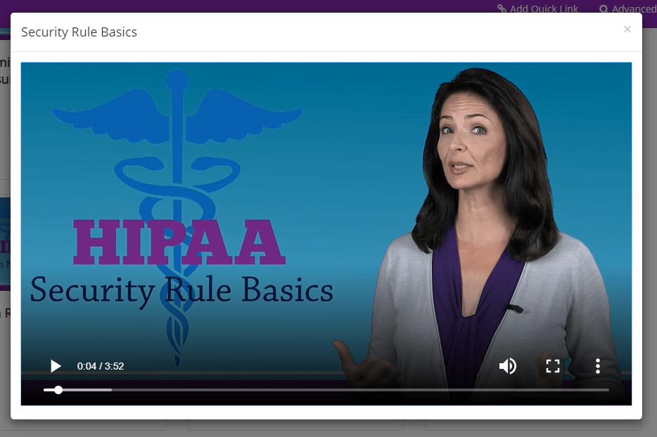 Screenshot of a training video in HIPAAtrek