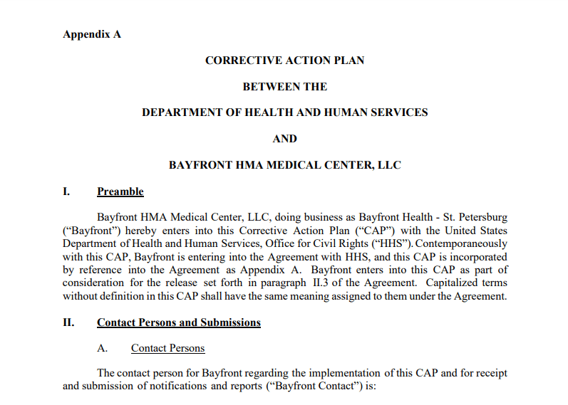 Screenshot of Bayfront's Corrective Action Plan