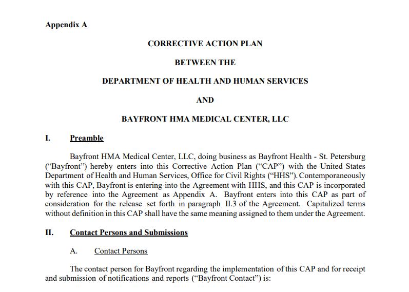 Screenshot of Bayfront's Corrective Action Plan