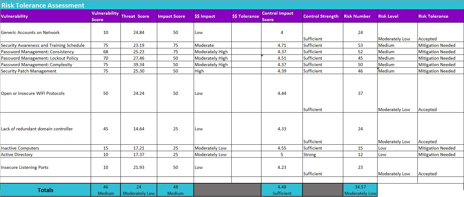 Screenshot of HIPAAtrek's risk tolerance assessment spreadsheet.