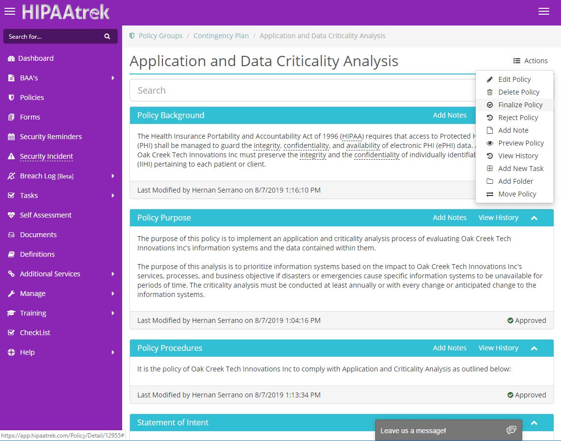 Screenshot of a policy in HIPAAtrek.
