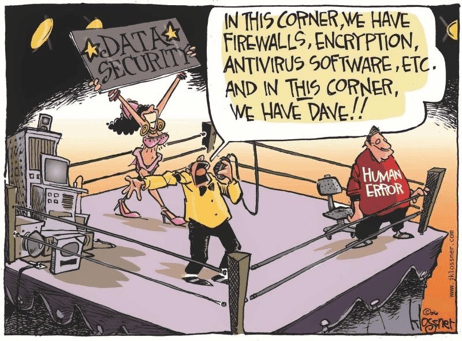 Cartoon that represents Data Security and Human Error as opponents in a boxing ring. Dave represents Human Error.