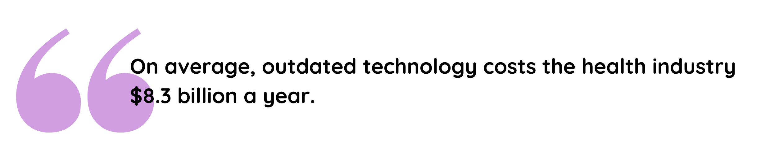 Outdated technology, on average, costs the health industry $8.3 billion a year.