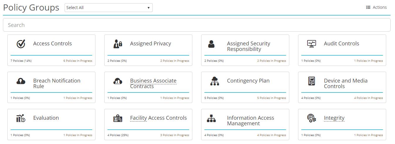 Screenshot of the policy groups landing page in HIPAAtrek.