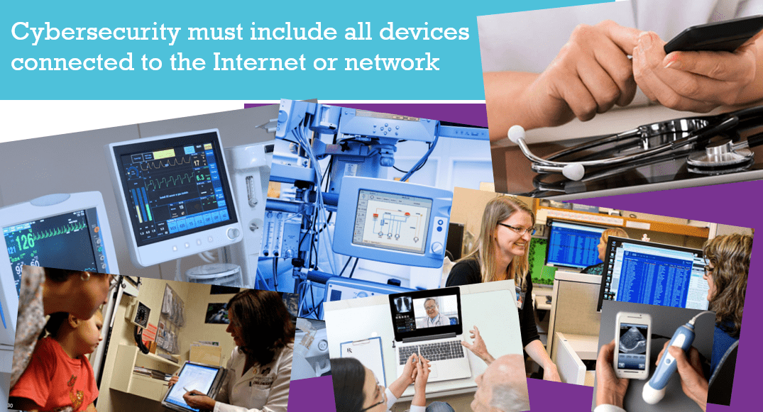 Slide 11 of the Security Over Compliance presentation, depicting various connected medical devices.