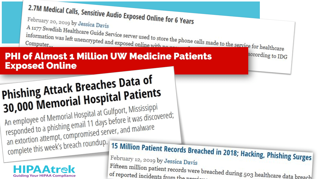 Slide 2 of the Security Over Compliance webinar, depicting headlines of hospital data breaches.