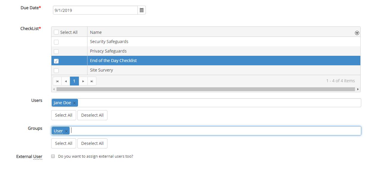 Screenshot of assigning users to checklists in HIPAAtrek.