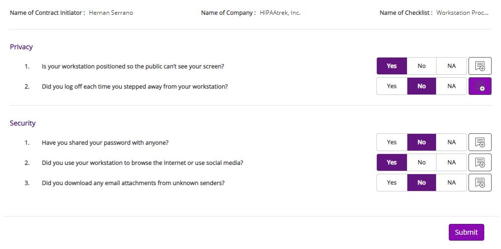 Screenshot of a checklist in HIPAAtrek.