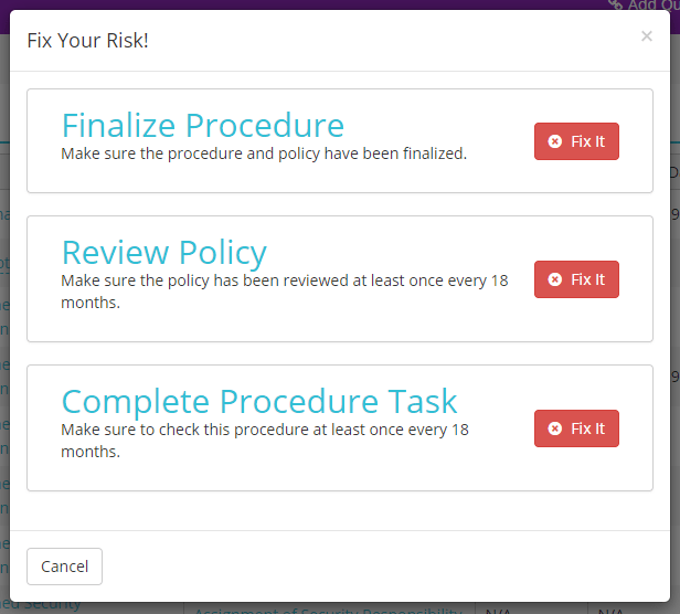Screenshot of Fix It on Self Assessment in HIPAAtrek.
