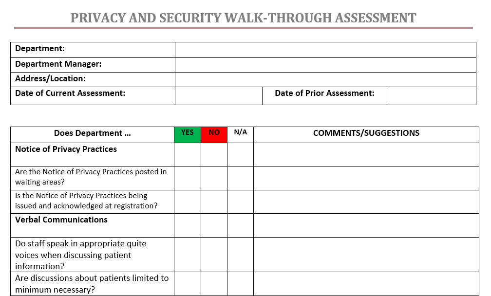 Privacy and Security Walk-Through Assessment Checklist from HIPAAtrek