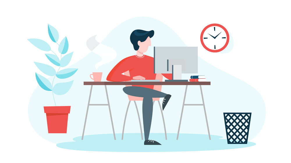 person working at desk vector